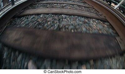 man walks by rail journey legs in boots video gopro - man...