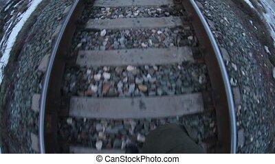 man walks by rail journey legs in boots video gopro...