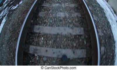 man walks by rail journey legs in boots video gopro...