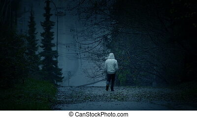 Man Walks In Dark Landscape - Sadness, Isolation Concept -...