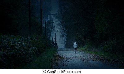 Man Walks In Darkened Landscape - Depression, Loneliness...
