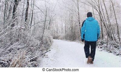 Man Walks In Woods In Snowstorm - Man in winter clothing...
