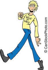 Man walks the walk - Man stride down the street and walks...
