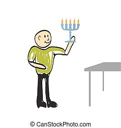 man walks with a candle to the goal