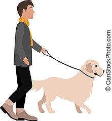 man walks with retriever flat style