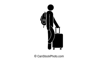 Man walks with travel suitcase on four wheels and backpack...