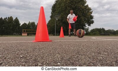 Man warm up for basketball workout
