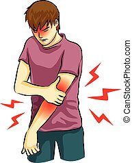 arm pain - man was arm pain drawing cartoon vector