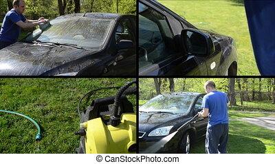 man wash car collage