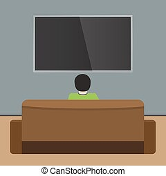 Man watches TV on sofa. Back view. Flat and solid color design Vector.