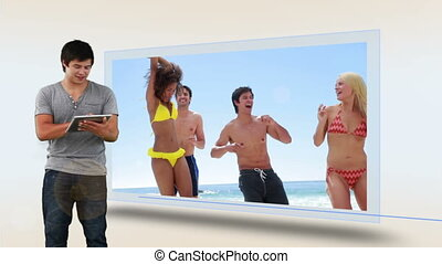 Animation of a man watching his vacation at beach on tablet computer