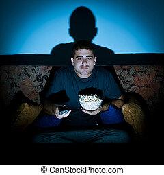Man watching movie
