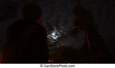 man watching on full moon at night horror scene