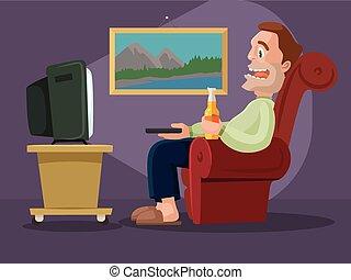 Man watching television. Vector flat cartoon illustration