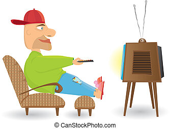 Man watching TV. Vector illustratio