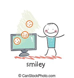 man watching TV with smiles