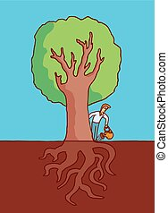 Man watering big tree with roots