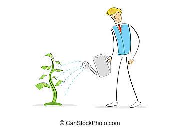 man watering money plant