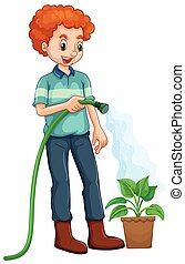 Man watering the plant