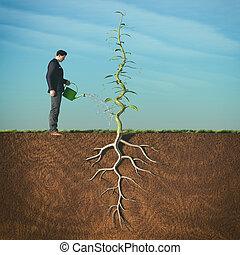 Man watering with sprinkler a beanstalk.This is a 3d render...