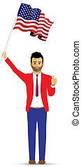 man waving a usa flag
