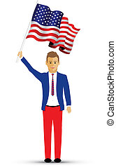 man waving a usa flag