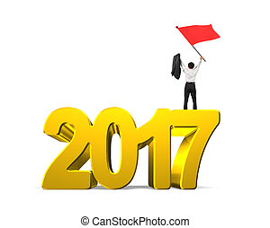 Man waving red flag standing on 2017 year