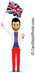 man waving the uk flag