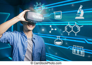 man wear vr learing science on the technology background