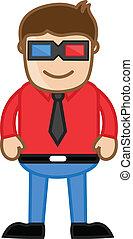 Man Wearing 3d Glasses - Vector