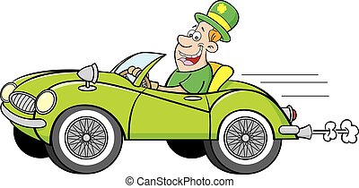 Man Wearing a Derby driving a car. - Cartoon illustration of...