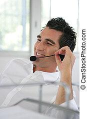 Man wearing a headset