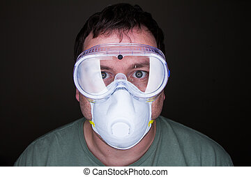 man wearing a mask and goggles