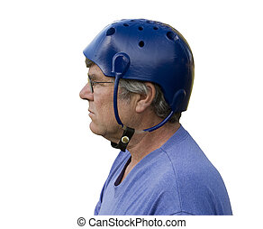 man wearing a padded seizure helmet isolated over a white background with a clipping path at original size