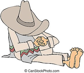 Man Wearing A Sombrero Taking A Sie - This illustration...