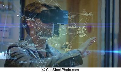 Man wearing a virtual reality headset
