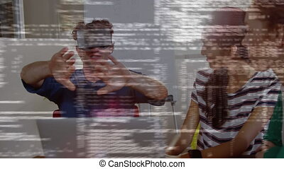 Man wearing a virtual reality headset with his friends