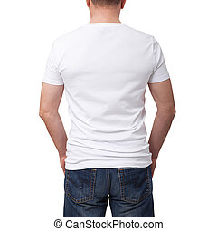 Man wearing blank t-shirt on gray brick wall background with copy space. Tshirt design and people concept - close up of man in blank white t-shirt. Back view
