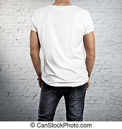 Man wearing blank t-shirt - Photo of a young man wearing...
