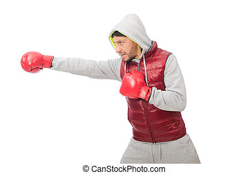 Man wearing boxing gloves isolated on white