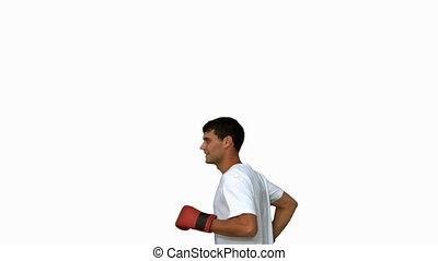 Man wearing boxing gloves on white