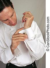 Man Wearing Cufflinks
