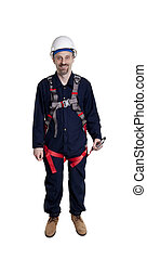 man wearing fall protection - Man wearing fall protection...