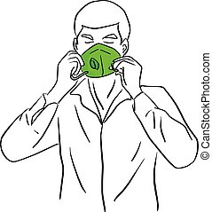 man wearing green mask vector illustration sketch doodle hand drawn with black lines isolated on white background