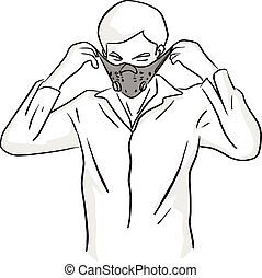 man wearing mask vector illustration sketch doodle hand drawn with black lines isolated on white background