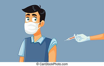 Man Wearing Medical Mask Getting a Vaccine