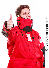Man wearing protective clothing