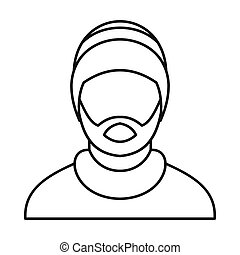 Man wearing rastafarian hat icon, outline style - Man...