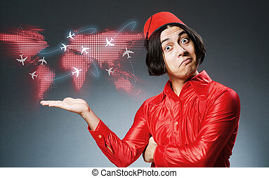 Man wearing red fez hat in air travel concept