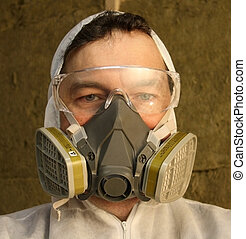 Man wearing respirator - Closeup of a man wearing a...